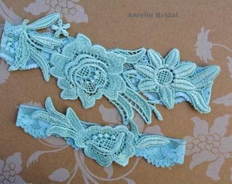 Wedding Garters Mint Green Color Garter Set, Bridal Lace Wedding Garter Set, Wedding Garter Mint, Toss Garter, Handmade Bridal Garters Belts