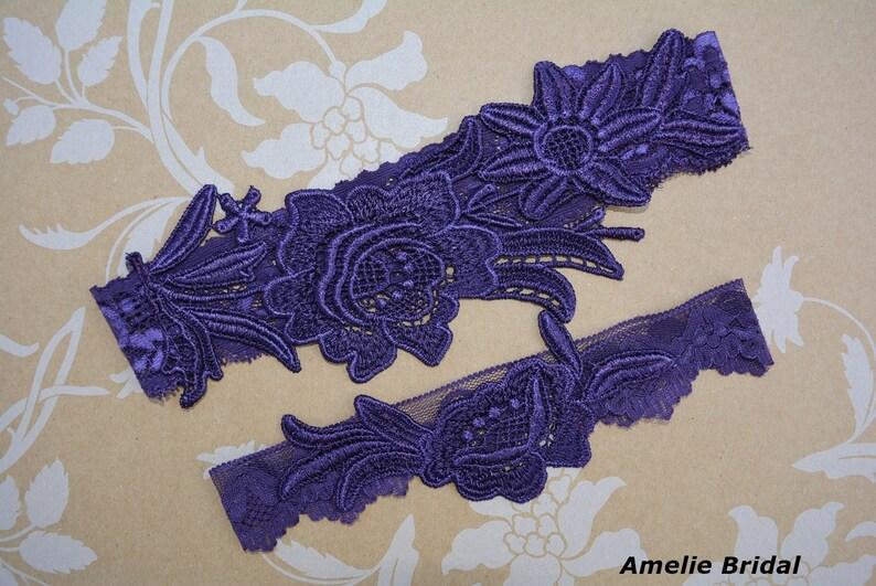 1636d3737e1 Dark Plum Purple Elastic Lace Wedding Brides Garter Set Belt