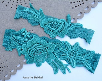 Teal Green Lace Wedding Garters Sets For Brides, Bridal Garter Set Teal Green, Wedding Toss Keepsake Garter Teal Lingerie Garter Belt Bridal