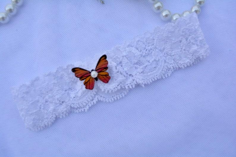 Keepsake Garter Toss Garter 1 Wedding Garter White Lace Wood Butterfly Wedding Garter White Garter Prom Garter Bridal Garter Lace Garter