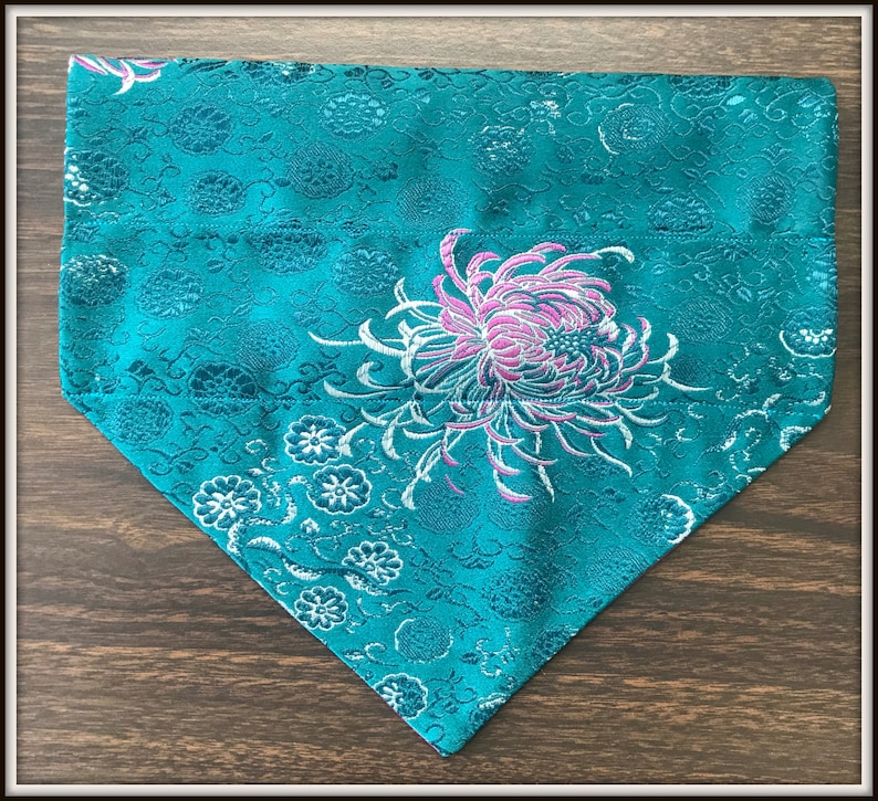 Made to Order Dog Fashion Accessory Featuring a Crochet Lace Collar with Faux Pear Beading Reversible Custom Made Pet Bandanna for Dogs