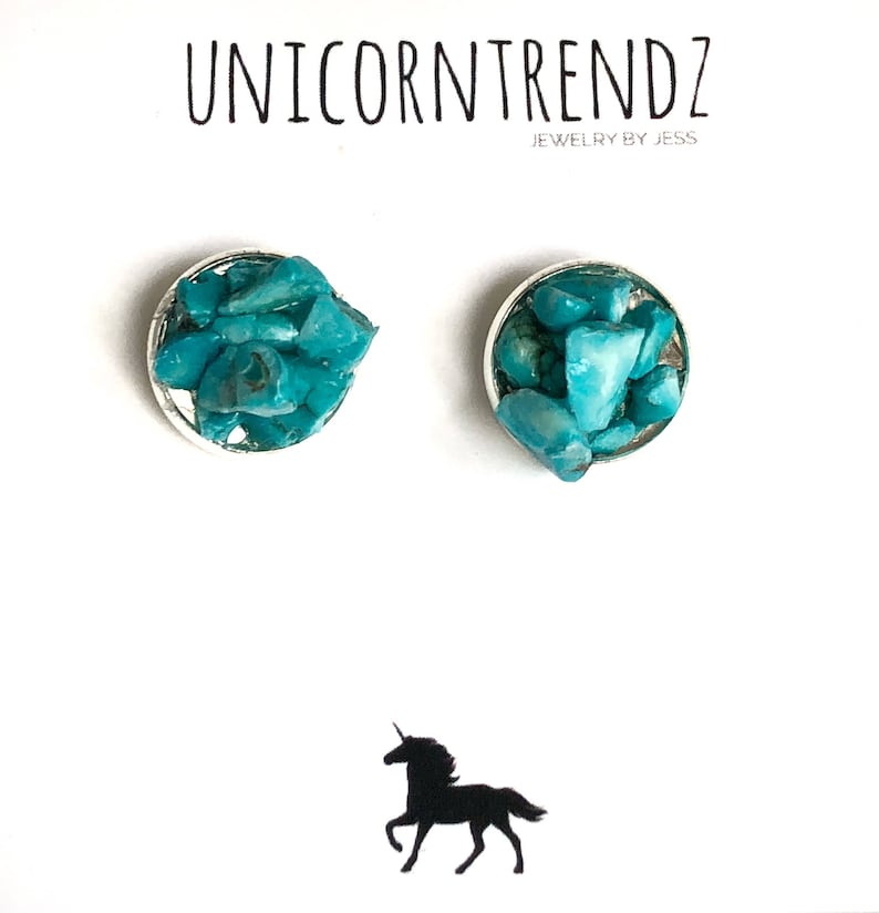 Turquoise Gem Studs Turquoise Jewelry Turquoise Studs Raw Turquoise Earrings Turquoise Gift Raw Turquoise Studs December Earrings