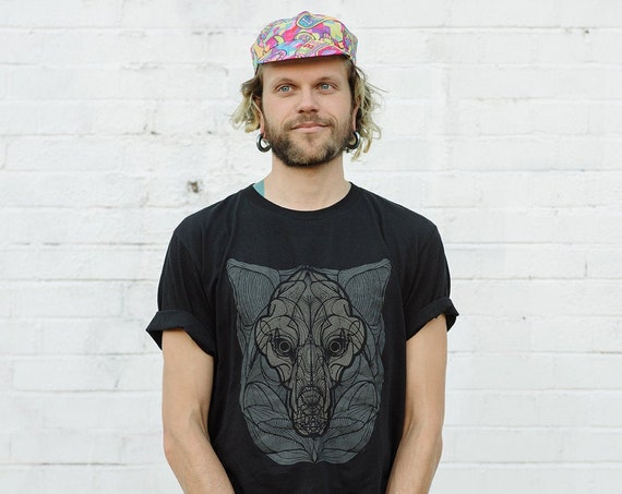 Organic Cotton T-Shirt with Reflective Wolf Print For Cyclists