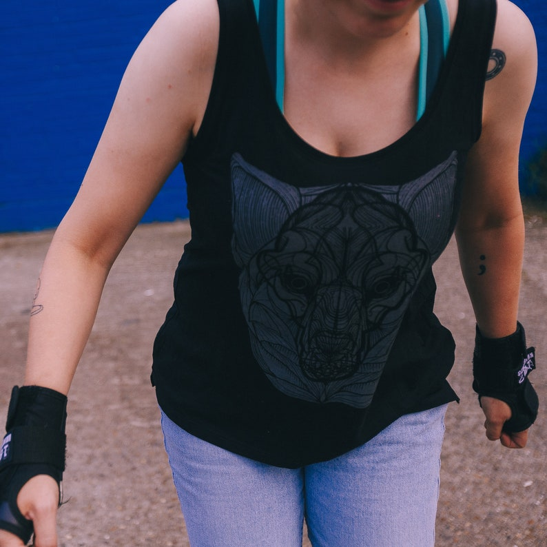 Vest Tencel/Combed Organic Cotton with Reflective Wolf Print image 0