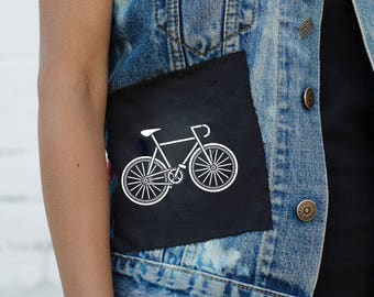 Sew-on Patches with Bicycle and Skull Print x2