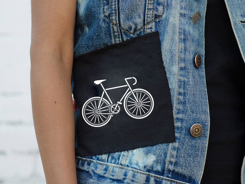 Sew-on Patches with Bicycle and Skull Print x2 image 1