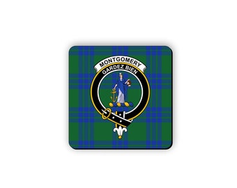 Montgomery Scottish Clan Tote Bag with Clan Tartan and Crest