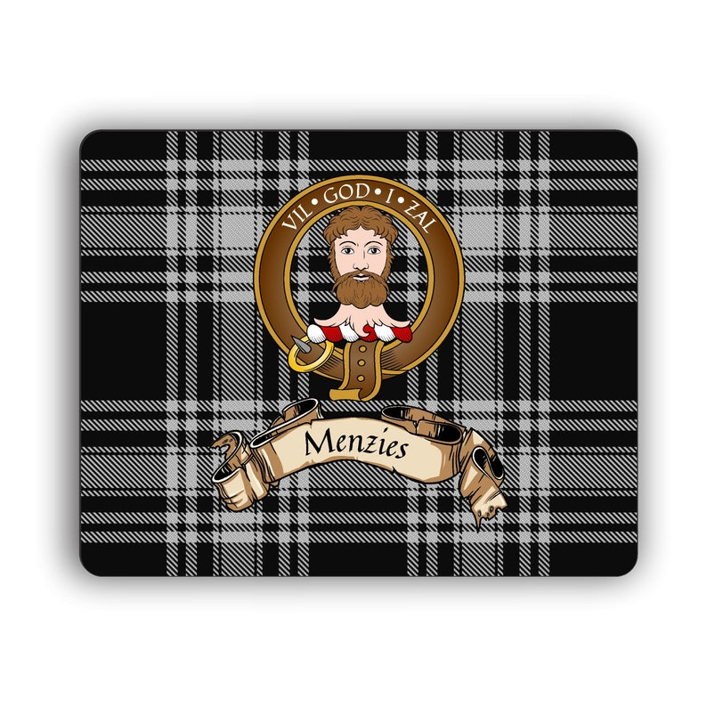 Menzies Scottish Clan Black Tartan Crest Computer Mouse Pad