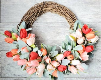 Purple Tulips Wreath Tulips Front Door Wreath Door Wreaths Yellow Spring Tulips Mother/'s Day Wreath Tulips Trending Wreaths
