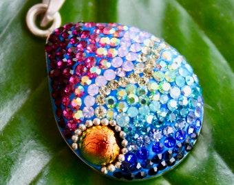 Rainbow Crystal Mosaic Pendant