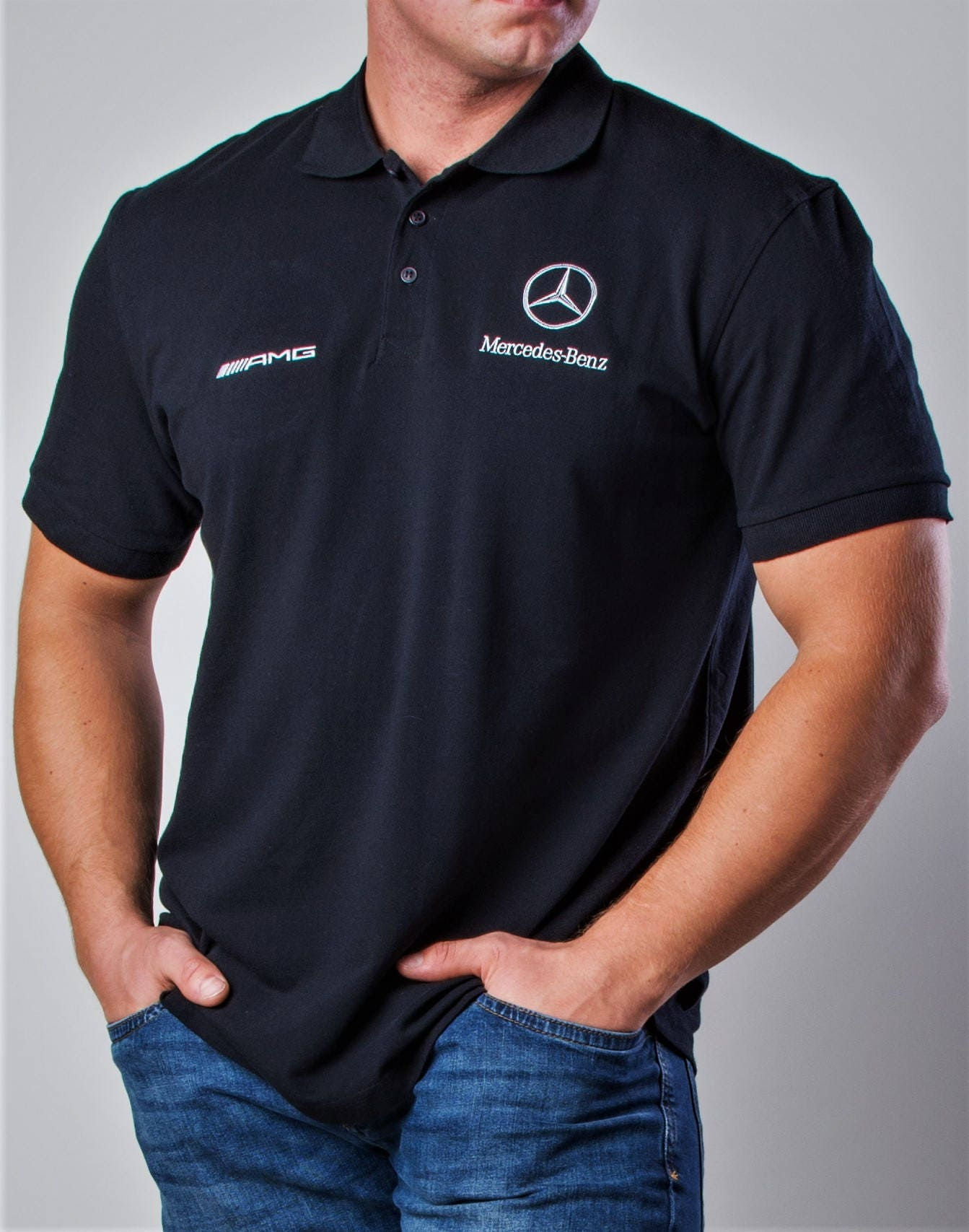 Mercedes Benz Amg Polo Shirt Embroidery Logos Unisex Tshirt