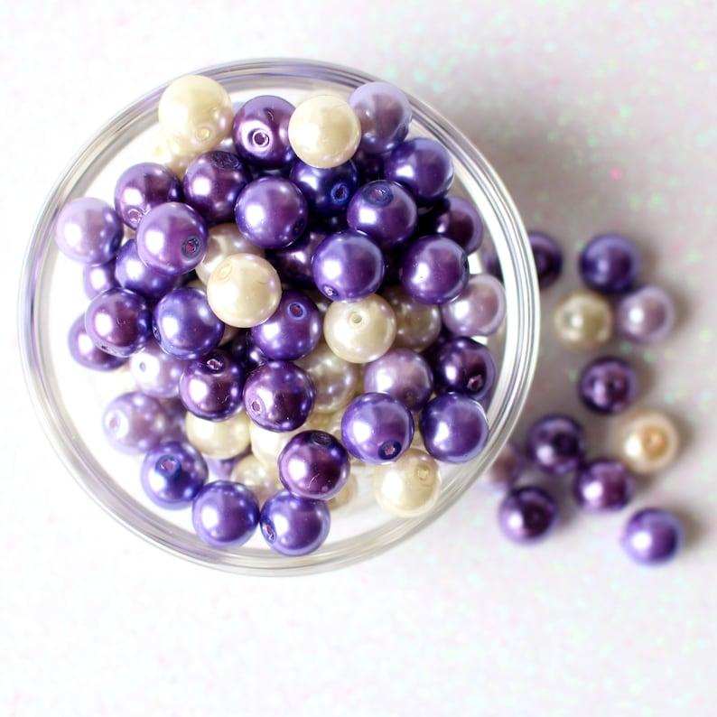 50 Grape Beads Mix  Purple Tones  Round Pearl