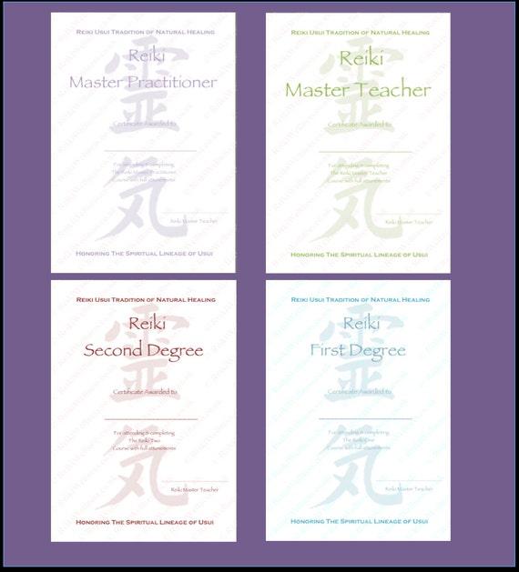 Personnalisé Des Modèles De Certificats Reiki Set Complet X4 Niveau 1 Niveau 2 Maître Praticien Maître Enseignant Reiki Kanji