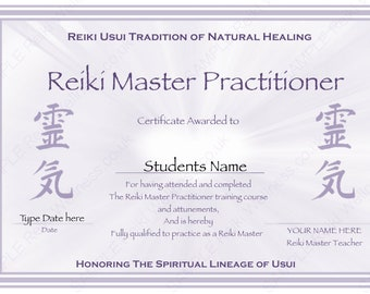 Personalised Complete Set Reiki Certificate Templates x4 - Ready to Type or Handwrite / Master Teacher - Reiki Hearts