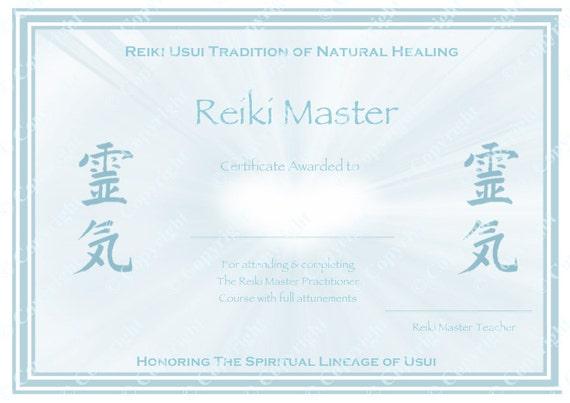 Personalised Complete Set Reiki Certificate Templates X4 Level 1 Level 2 Master Practitioner Master Teacher Reiki Hearts