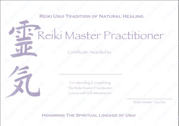 Personalised Complete Set Reiki Certificate Templates x4 ...