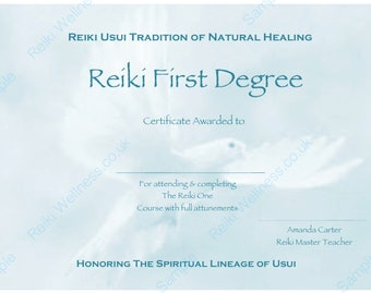 Reiki certificates etsy personalised complete set reiki certificate templates yelopaper Image collections