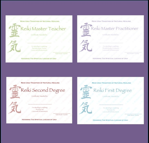 Personalised Complete Set Reiki Certificate Templates X4