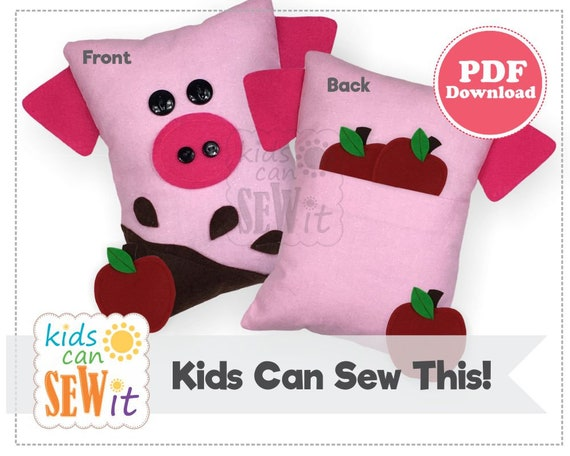 Pig Pillow PDF Sewing Pattern Kids Can Sew This Fun And Easy Etsy Simple Pillow Sewing Patterns
