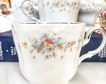 Vintage Johann Haviland China Tea Cups & Creamer