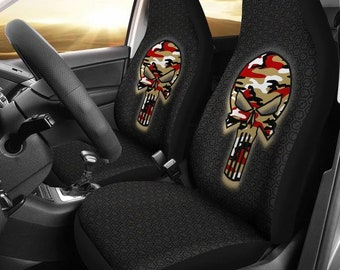 San Francisco Forty Niners Punisher Camo Car Micro Fiber Seat Covers NFL Football Skulls Gifts Mens Ladies