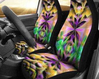 Neon Abstract Kaleidoscope Multi Color Micro Fiber Auto Seat Covers SUV Truck Customizable Personalized Gift Ideas