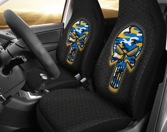 c4f00ee3796 Los Angeles Chargers Punisher Camo Car Micro Fiber Seat Covers NFL Los  Angeles Chargers Football Skulls Gifts Mens Ladies