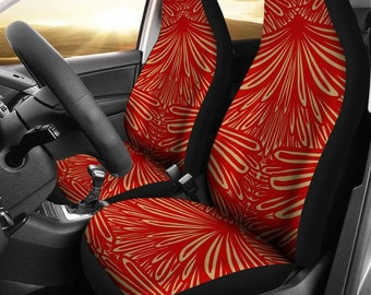 San Francisco 49ers Art Deco Football Micro Fiber NFL Car Seat Covers SUV Red Black