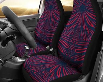 New England Patriots Art Deco News Football Micro Fiber NFL Car Seat Covers SUV Blue Red