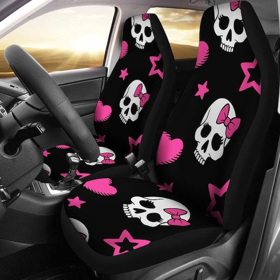 Sugar Skulls Pink Bow Micro Fiber Car Seat Covers SUV