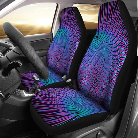 Vortex Pattern Purple Micro Fiber Auto Seat Covers SUV