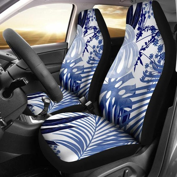 Tropical Pattern Watercolor Blue White Micro Fiber Auto Seat