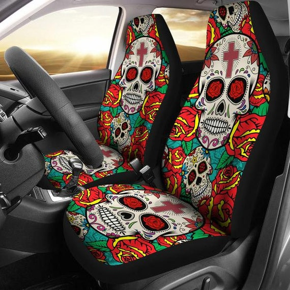 Sugar Skulls Roses Micro Fiber Car Seat Covers SUV