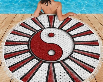 North Carolina State/Wolfpack/Ying Yang/Beach/Pool/Deck/Blanket/Sunburst/Round/Gift/Towel/Tablecloth/Blankets/Throw/Picnic