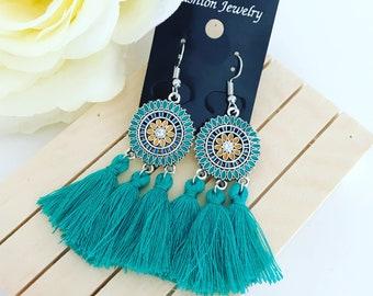 Earrings Jewelry Green Fringe