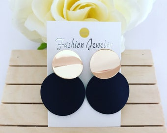 Black and gold jewellery earrings