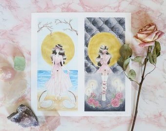 "Limited Edition ""Persephone"" 10""x10"" Giclee Diptych Watercolor Print"