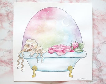 "Le Bain 11""x11"" Original Watercolor ~Viewpoint Collection~"