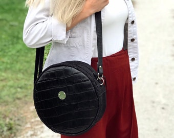 MOON BAG Medium (Black Croc)