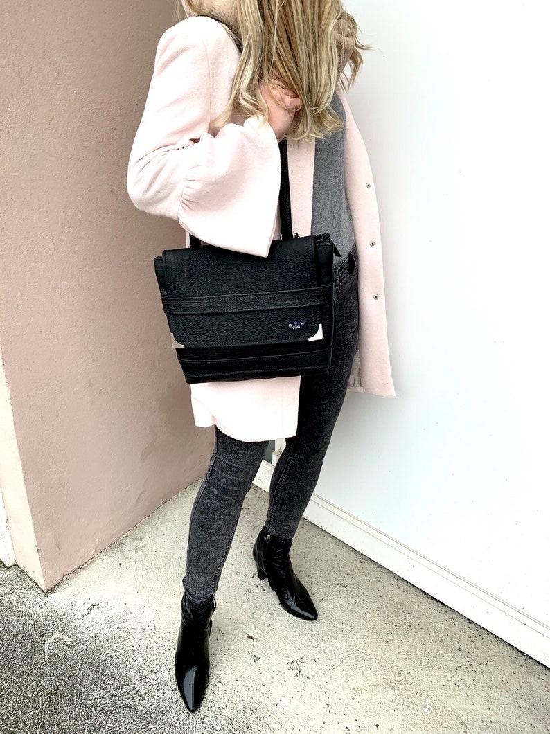 Cross Body Bag,Convertible Leather Bag Elegant Bag Black Leather Bag Flap Over Leather Bag Black Crossbody Bag Leather Bag for Women