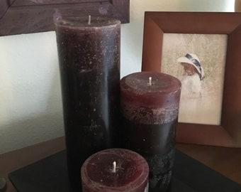 Maroon / Deep Crimson Pillar Candle Set