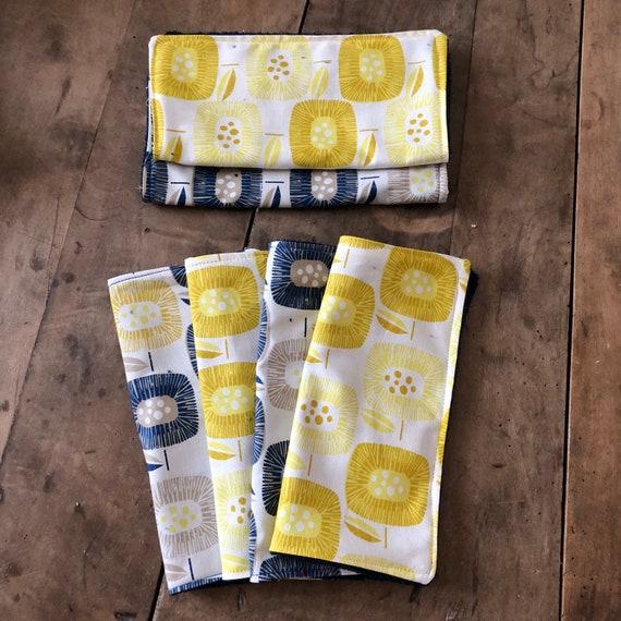 Set of square vintage yellow & blue cotton and sponge