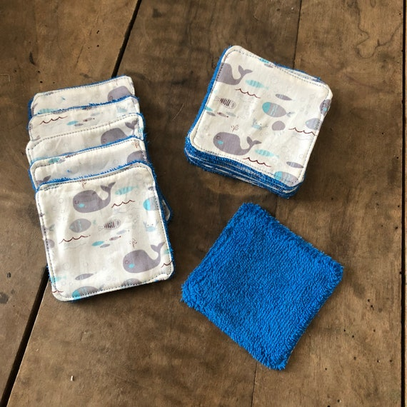 Wipes Blue Dolphin and blue sponge in a pretty reversible storage pouch
