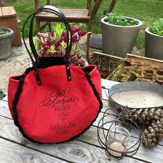 Red & Black burlap and macrame tote bag