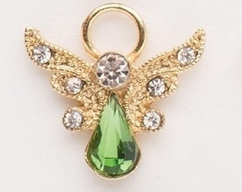 Vintage Female Winged Angel Pin Brooch  Sculpted White  August Peridot Green Rhinestone