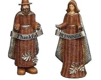 "Roman Thankful Blessings 9.5"" Basket Pilgrims Set"