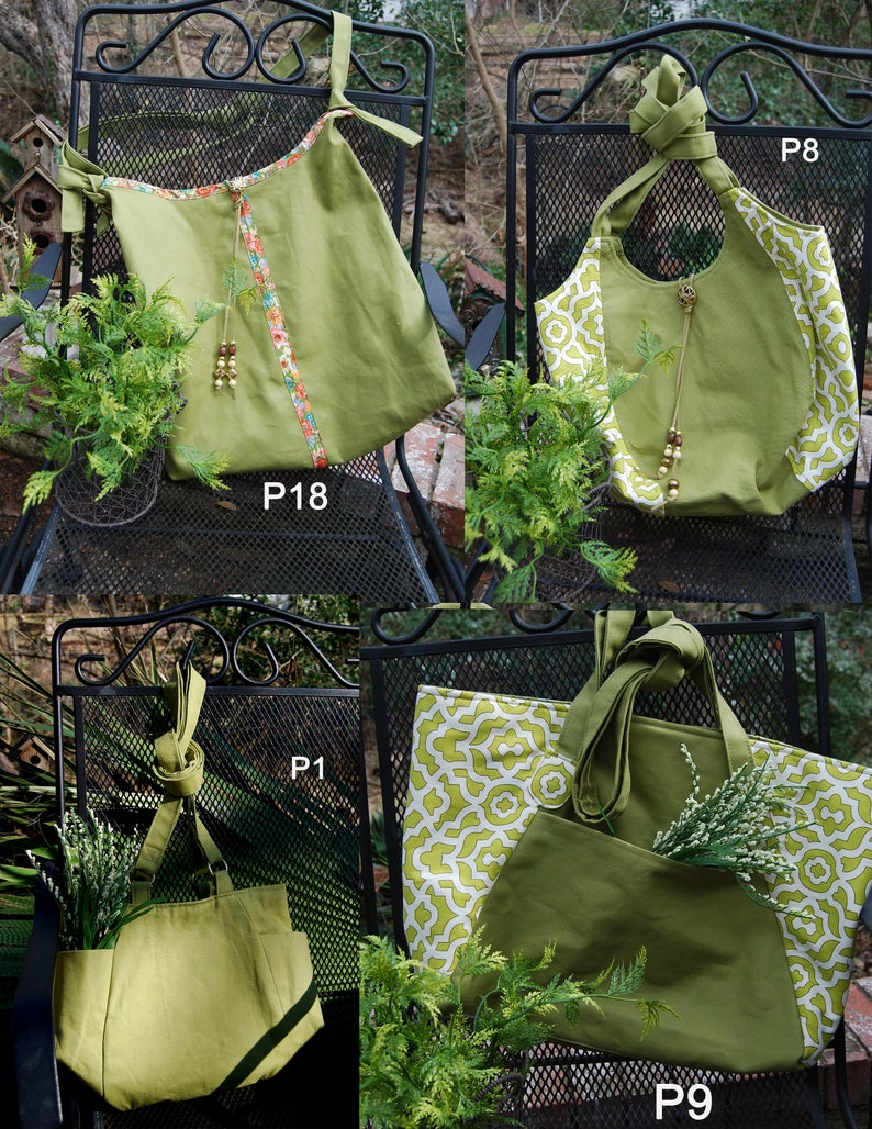 Green canvas bags