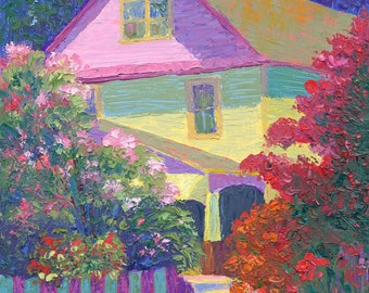 Impressionist oil painting colorful house original Impressionistic knife painting Luminous Color at Don Drumm Studio bold  plein air