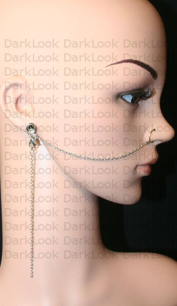 Nose Chain With Ear Plug Nose Ring With Chainstitanium 20 Etsy