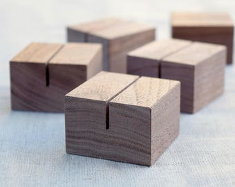Diagonally cut square walnut card holders set small sign etsy square walnut wood card holders set small sign stands menu card holders table number holders retail store sign stands m4hsunfo
